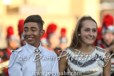 Junior Attendants Rodrigo Miranda and Sidney Meitner walk out for the Homecoming Festivities prior to the game. The Great Bend Panthers defeated the Dodge City Demons 34 to 27 at Memorial Stadium in Great Bend, Kansas on September 23, 2016. (Photo: Joey Bahr, www.joeybahr.com)
