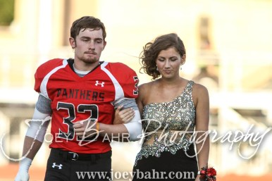 Senior Homecoming Candidates Payton Mauler and Maddy Otter walk out for the Homecoming Festivities prior to the game. The Great Bend Panthers defeated the Dodge City Demons 34 to 27 at Memorial Stadium in Great Bend, Kansas on September 23, 2016. (Photo: Joey Bahr, www.joeybahr.com)