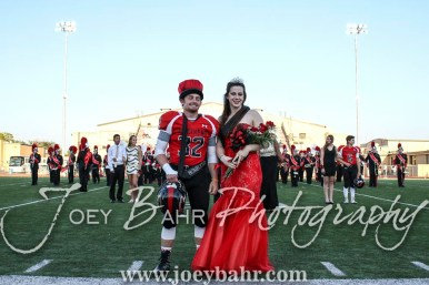 2016 King and Queen Payton Mauler and Kate Warren pose for pictures during the Homecoming Festivities prior to the game. The Great Bend Panthers defeated the Dodge City Demons 34 to 27 at Memorial Stadium in Great Bend, Kansas on September 23, 2016. (Photo: Joey Bahr, www.joeybahr.com)