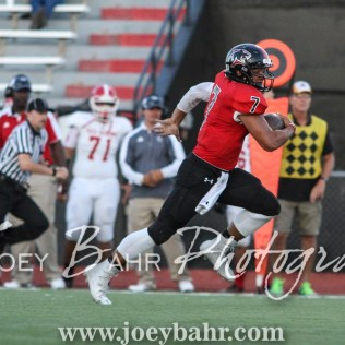 Great Bend Panther Jacob Murray (#7) dashes for the end zone. The Great Bend Panthers defeated the Dodge City Demons 34 to 27 at Memorial Stadium in Great Bend, Kansas on September 23, 2016. (Photo: Joey Bahr, www.joeybahr.com)