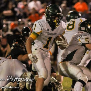 Pratt Greenback Hunter Kaufman (#1) carries the ball. The Pratt Greenbacks win 31 to 16 over the Larned Indians at Earl Roberts Field in Larned, Kansas on September 2, 2016. (Photo: Joey Bahr, www.joeybahr.com)