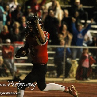 Great Bend Panther Koy Brack (#12) celebrates scoring a touchdown. The Garden City Buffaloes defeated the Great Bend Panthers 21 to 14 in Overtime to win the Western Athletic Conference title at Memorial Stadium in Great Bend, Kansas on October 21, 2016. (Photo: Joey Bahr, www.joeybahr.com)
