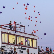 Balloons are released in memory of John Breit before the game started. The Hoisington Cardinals defeated the Lyons Lions to win the KSHSAA Class 3A District 15 Championship at Elton Brown Field in Hoisington, Kansas on October 27, 2016. (Photo: Joey Bahr, www.joeybahr.com)