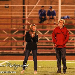 Hoisington Cardinal State Qualifiers to the State Cross Country Meet are recognized at Halftime. The Hoisington Cardinals defeated the Lyons Lions to win the KSHSAA Class 3A District 15 Championship at Elton Brown Field in Hoisington, Kansas on October 27, 2016. (Photo: Joey Bahr, www.joeybahr.com)