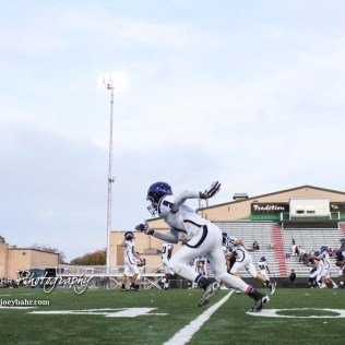 Topeka West Charger Zu'mere Beard (#9) runs a drill during warmups. The Great Bend Panthers defeated the Topeka West Chargers 70 to 31 in a KSHSAA Class 5A First Round matchup. at Memorial Stadium in Great Bend, Kansas on October 28, 2016. (Photo: Joey Bahr, www.joeybahr.com)