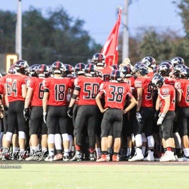 The Great Bend Panthers huddle at the center of the field. The Great Bend Panthers defeated the Topeka West Chargers 70 to 31 in a KSHSAA Class 5A First Round matchup. at Memorial Stadium in Great Bend, Kansas on October 28, 2016. (Photo: Joey Bahr, www.joeybahr.com)