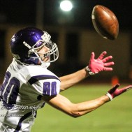 Topeka West Charger Vincent Parker (#80) tries to catch a pass. The Great Bend Panthers defeated the Topeka West Chargers 70 to 31 in a KSHSAA Class 5A First Round matchup. at Memorial Stadium in Great Bend, Kansas on October 28, 2016. (Photo: Joey Bahr, www.joeybahr.com)