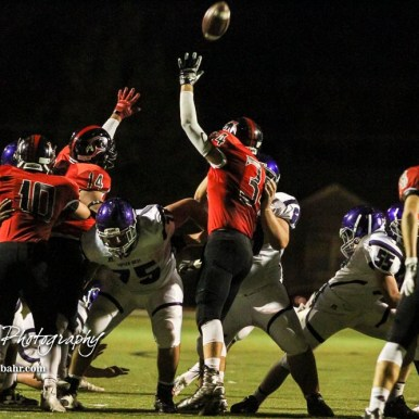 Great Bend Panther Blake Penka (#34) tries to block a field goal attempt. The Great Bend Panthers defeated the Topeka West Chargers 70 to 31 in a KSHSAA Class 5A First Round matchup. at Memorial Stadium in Great Bend, Kansas on October 28, 2016. (Photo: Joey Bahr, www.joeybahr.com)