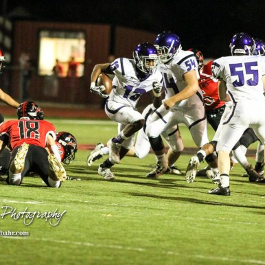 Topeka West Charger Chris Ellis (#13) changes directions as the hole he was running to closes. The Great Bend Panthers defeated the Topeka West Chargers 70 to 31 in a KSHSAA Class 5A First Round matchup. at Memorial Stadium in Great Bend, Kansas on October 28, 2016. (Photo: Joey Bahr, www.joeybahr.com)