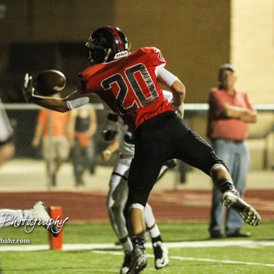 Great Bend Panther Bryce Lytle (#20) tries to pull in a possible touchdown pass. The Great Bend Panthers defeated the Topeka West Chargers 70 to 31 in a KSHSAA Class 5A First Round matchup. at Memorial Stadium in Great Bend, Kansas on October 28, 2016. (Photo: Joey Bahr, www.joeybahr.com)