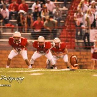 The Hoisington Cardinals prepare to kick off the ball and the game. The Hoisington Cardinals defeated the Lakin Broncs in the KSHSAA Class 3A Bi-District game with a score of 56 to 13 at Elton Brown Field in Hoisington, Kansas on November 1, 2016. (Photo: Joey Bahr, www.joeybahr.com)