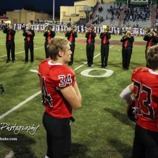 The Great Bend High School Jazz Band plays the National Anthem. The Great Bend Panthers defeated the Andover Trojans in the KSHSAA Class 5A Regional playoff game with a score of 16 to 7 at Memorial Stadium in Great Bend, Kansas on November 4, 2016. (Photo: Joey Bahr, www.joeybahr.com)