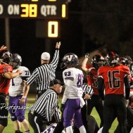 Great Bend Panther Mason Yellowwolf (#27) celebrates as the Referee signals that possession of the ball has turned over. The Great Bend Panthers defeated the Valley Center Hornets to win the KSHSAA Class 5A Sectional by a score of 28 to 24 at Memorial Field in Great Bend, Kansas on November 11, 2016. (Photo: Joey Bahr, www.joeybahr.com)
