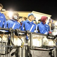 The Goddard High School Marching Band Drum Line performs before the start of the game. The Goddard Lions defeated the Great Bend Panthers to win the KSHSAA Class 5A Sub-State Championship by a score of 50 to 21 at Memorial Field in Great Bend, Kansas on November 18, 2016. (Photo: Joey Bahr, www.joeybahr.com)