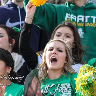 A Pratt High student cheers after a touchdown is scored. The Hayden Wildcats and the Pratt Greenbacks compete in the KSHSAA Class 4A Division II State Championship Game at Salina Stadium in Salina, Kansas on November 26, 2016. (Photo: Joey Bahr, www.joeybahr.com)