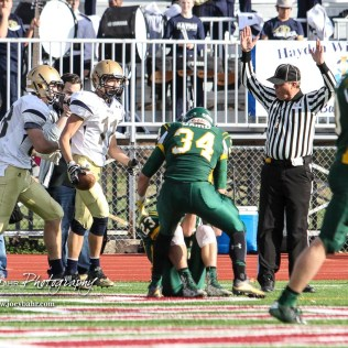 Hayden Wildcat Dylan Smith (#11) finds the end zone to score a touchdown. The Pratt Greenbacks defeated the Hayden Wildcats 48 to 14 to win the KSHSAA Class 4A Division II State Championship Game at Salina Stadium in Salina, Kansas on November 26, 2016. (Photo: Joey Bahr, www.joeybahr.com)