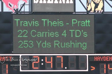 The scoreboard shows the stats for Pratt Greenback Travis Theis (#5) near the end of the third quarter. The Pratt Greenbacks defeated the Hayden Wildcats 48 to 14 to win the KSHSAA Class 4A Division II State Championship Game at Salina Stadium in Salina, Kansas on November 26, 2016. (Photo: Joey Bahr, www.joeybahr.com)