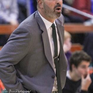 Central Plains Oiler Head Coach Brett Rolfs reacts to a call. The St. John Tigers defeated the Central Plains Oilers by a score of 62 to 31 at Central Plains High School in Claflin, Kansas on December 13, 2016. (Photo: Joey Bahr, www.joeybahr.com)