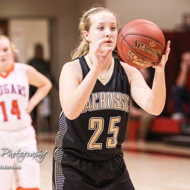LaCrosse Lady Leopard #25 Addie Kershner prepares to shoot a free throw attempt. The Otis-Bison Lady Cougars defeated the LaCrosse Lady Leopards 61 to 55 in the Girls Semi-Final of the 2017 Hoisington Winter Jam at Hoisington Activity Center in Hoisington, Kansas on January 20, 2017. (Photo: Joey Bahr, www.joeybahr.com)