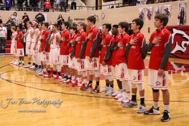 The Great Bend Panthers line up for the National Anthem. The Hays Indians defeated the Great Bend Panthers by a score of 51 to 37 at Great Bend High School in Great Bend, Kansas on January 10, 2017. (Photo: Joey Bahr, www.joeybahr.com)