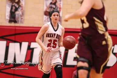 Great Bend Lady Panther #25 Carly Dreiling brings the ball down the court. The Great Bend Lady Panthers defeated the Hays Lady Indians by a score of 54 to 41 at Great Bend High School in Great Bend, Kansas on January 10, 2017. (Photo: Joey Bahr, www.joeybahr.com)