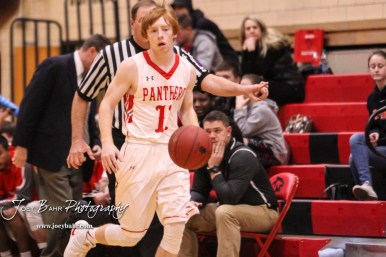 Great Bend Panther #11 Konner Ireland brings the ball down the court. The Hays Indians defeated the Great Bend Panthers by a score of 51 to 37 at Great Bend High School in Great Bend, Kansas on January 10, 2017. (Photo: Joey Bahr, www.joeybahr.com)