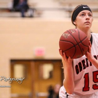 Great Bend Lady Panther #15 Annie Mills shoots a free throw attempt. The Great Bend Lady Panthers defeated the Hays Lady Indians by a score of 54 to 41 at Great Bend High School in Great Bend, Kansas on January 10, 2017. (Photo: Joey Bahr, www.joeybahr.com)