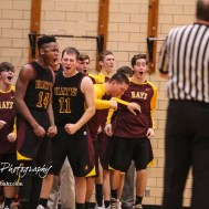 The Hays Indian bench celebrates made field goal. The Hays Indians defeated the Great Bend Panthers by a score of 51 to 37 at Great Bend High School in Great Bend, Kansas on January 10, 2017. (Photo: Joey Bahr, www.joeybahr.com)