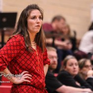 Great Bend Lady Panther Head Coach Carrie Minton watches as her team plays defense. The Great Bend Lady Panthers defeated the Hays Lady Indians by a score of 54 to 41 at Great Bend High School in Great Bend, Kansas on January 10, 2017. (Photo: Joey Bahr, www.joeybahr.com)