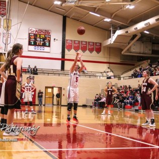 Great Bend Lady Panther #5 Camryn Dunekack shoots a free throw attempt. The Great Bend Lady Panthers defeated the Hays Lady Indians by a score of 54 to 41 at Great Bend High School in Great Bend, Kansas on January 10, 2017. (Photo: Joey Bahr, www.joeybahr.com)