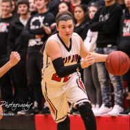 Great Bend Lady Panther #22 Carley Brack drives towards the basket. The Great Bend Lady Panthers defeated the Hays Lady Indians by a score of 54 to 41 at Great Bend High School in Great Bend, Kansas on January 10, 2017. (Photo: Joey Bahr, www.joeybahr.com)