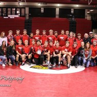 The Hoisington Cardinal Wrestling Team won the Hoisington Cardinal Duals at Hoisington Activity Center in Hoisington, Kansas on January 12, 2017. (Photo: Joey Bahr, www.joeybahr.com)