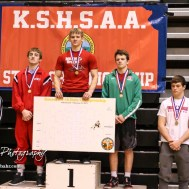 Weight class 145 medalists: 1st Place - Jonathan Ball of Hoisington, 2nd Place - Colton Hutchinson of Smith Center, 3rd Place - Tristan Porsch of Hoxie, 4th Place - Kolby Droegemeier of Wabaunsee, 5th Place - Scott Resler of Wathena-Riverside, 6th Place - Cole Sramek of Atwood-Rawlins County. The KSHSAA Class 321A State Wrestling Championships were held at Gross Memorial Coliseum on the campus of Fort Hays State University in Hays, Kansas on February 25, 2017. (Photo: Joey Bahr, www.joeybahr.com)