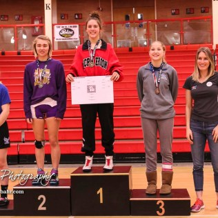 Weight Class 113 finishers: 1st Place - Mya Kretzer of McPherson, 2nd Place - Alessia Cokeley of Douglass, 3rd Place - Sunny O`Leary of Riley County, 4th Place - Maggie Goodwin of Gardner-Edgerton. The first ever Kansas High School Girls Wrestling Championship was held at the Roundhouse at McPherson High School in McPherson, Kansas on February 11, 2017. (Photo: Joey Bahr, www.joeybahr.com)