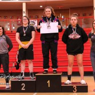 Weight Class 152 finishers: 1st Place - Kaelee Kimmel of Wichita South, 2nd Place - Emma Curry of Hutchinson, 3rd Place - Lori Liddic of Leavenworth, 4th Place - Taryn Norstrom of Canton-Galva. The first ever Kansas High School Girls Wrestling Championship was held at the Roundhouse at McPherson High School in McPherson, Kansas on February 11, 2017. (Photo: Joey Bahr, www.joeybahr.com)