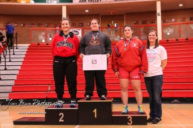 Weight Class 195-220 finishers: 1st Place - Makaea Forbes of Effingham-Atchison Co Community, 2nd Place - Shayanne Fernandez of McPherson, 3rd Place - Grace Pinkerton of Caney Valley. The first ever Kansas High School Girls Wrestling Championship was held at the Roundhouse at McPherson High School in McPherson, Kansas on February 11, 2017. (Photo: Joey Bahr, www.joeybahr.com)