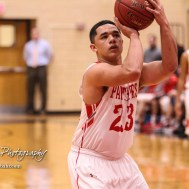 Great Bend Panther #23 Jacob Murray shoots a free throw attempt. The McPherson Bullpups defeated the Great Bend Panthers with a score of 57 to 30 at the Great Bend High School Fieldhouse in Great Bend, Kansas on February 7, 2017. (Photo: Joey Bahr, www.joeybahr.com)