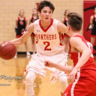 Great Bend Panther #2 Ty Esfeld dribbles the ball as McPherson Bullpup #12 Mason Alexander defends. The McPherson Bullpups defeated the Great Bend Panthers with a score of 57 to 30 at the Great Bend High School Fieldhouse in Great Bend, Kansas on February 7, 2017. (Photo: Joey Bahr, www.joeybahr.com)