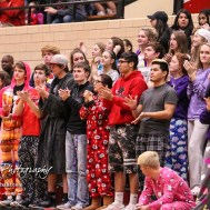The Great Bend Student Section applauds #3 Kody Crosby after he scored his 1,000th career point. The McPherson Bullpups defeated the Great Bend Panthers with a score of 57 to 30 at the Great Bend High School Fieldhouse in Great Bend, Kansas on February 7, 2017. (Photo: Joey Bahr, www.joeybahr.com)