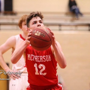 McPherson Bullpup #12 Mason Alexander shoots a free throw attempt. The McPherson Bullpups defeated the Great Bend Panthers with a score of 57 to 30 at the Great Bend High School Fieldhouse in Great Bend, Kansas on February 7, 2017. (Photo: Joey Bahr, www.joeybahr.com)
