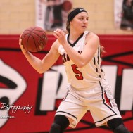 Great Bend Lady Panther #5 Camryn Dunekack looks for a teammate to pass the ball to. The McPherson Lady Bullpups defeated the Great Bend Lady Panthers with a score of 69 to 38 at the Great Bend High School Fieldhouse in Great Bend, Kansas on February 7, 2017. (Photo: Joey Bahr, www.joeybahr.com)
