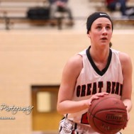 Great Bend Lady Panther #25 Carly Dreiling shoots a free throw attempt. The McPherson Lady Bullpups defeated the Great Bend Lady Panthers with a score of 69 to 38 at the Great Bend High School Fieldhouse in Great Bend, Kansas on February 7, 2017. (Photo: Joey Bahr, www.joeybahr.com)