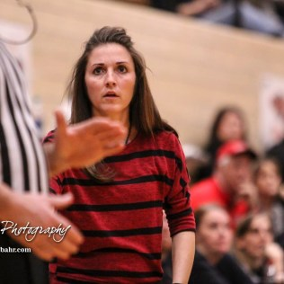 Great Bend Lady Panther Head Coach Carrie Minton appeals to a referee on a call. The McPherson Lady Bullpups defeated the Great Bend Lady Panthers with a score of 69 to 38 at the Great Bend High School Fieldhouse in Great Bend, Kansas on February 7, 2017. (Photo: Joey Bahr, www.joeybahr.com)