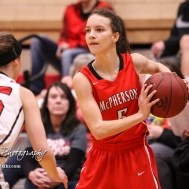 McPherson Lady Bullpup #5 Jaycee Burghart looks for a teammate to pass the ball to. The McPherson Lady Bullpups defeated the Great Bend Lady Panthers with a score of 69 to 38 at the Great Bend High School Fieldhouse in Great Bend, Kansas on February 7, 2017. (Photo: Joey Bahr, www.joeybahr.com)