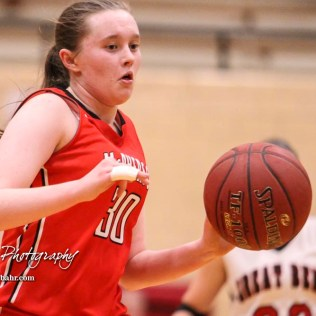 McPherson Lady Bullpup #30 Taylor Robertson drives to the basket. The McPherson Lady Bullpups defeated the Great Bend Lady Panthers with a score of 69 to 38 at the Great Bend High School Fieldhouse in Great Bend, Kansas on February 7, 2017. (Photo: Joey Bahr, www.joeybahr.com)