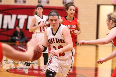 Great Bend Lady Panther #22 Carley Brack drives towards the lane. The McPherson Lady Bullpups defeated the Great Bend Lady Panthers with a score of 69 to 38 at the Great Bend High School Fieldhouse in Great Bend, Kansas on February 7, 2017. (Photo: Joey Bahr, www.joeybahr.com)