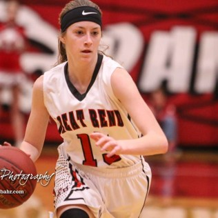 Great Bend Lady Panther #13 Lakin Pafford brings the ball down the court. The McPherson Lady Bullpups defeated the Great Bend Lady Panthers with a score of 69 to 38 at the Great Bend High School Fieldhouse in Great Bend, Kansas on February 7, 2017. (Photo: Joey Bahr, www.joeybahr.com)