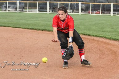 Great Bend Lady Panther #2 Kendal Sell fields a ground ball in the Top of the 3rd Inning. The Great Bend Lady Panthers defeated the Dodge City Lady Demons 15 to 5 at the Great Bend Sports Complex in Great Bend, Kansas on April 18, 2017. (Photo: Joey Bahr, www.joeybahr.com)
