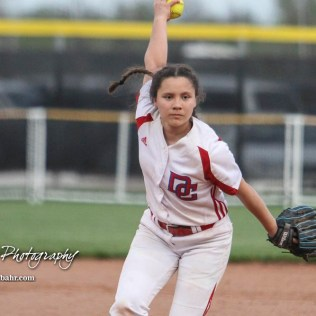 Dodge City Lady Demon #26 Olivia Ortiz winds up for a pitch in the Bottom of the 5th Inning. The Great Bend Lady Panthers defeated the Dodge City Lady Demons 15 to 5 at the Great Bend Sports Complex in Great Bend, Kansas on April 18, 2017. (Photo: Joey Bahr, www.joeybahr.com)