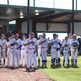 The Bluestem Lions line up for the National Anthem prior to the start of the game. The Bluestem Lions defeated the Ellis Railroaders 8 to 5 in the KSHSAA Class 2-1A State Baseball Championship game at Great Bend Sports Complex in Great Bend, Kansas on May 26, 2017. (Photo: Joey Bahr, www.joeybahr.com)